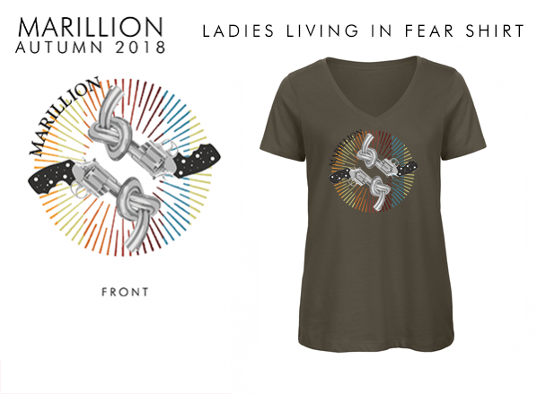 LADIES KHAKI LIVING IN F E A R TSHIRT